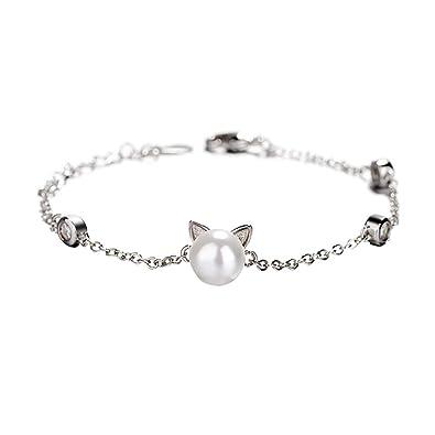 BESTOYARD Pulseras de Plata de Ley 925 Pulseras de Gato de Perlas de imitación Pulsera de Encanto Ajustable Pulsera de Diamante Artificial: Amazon.es: ...