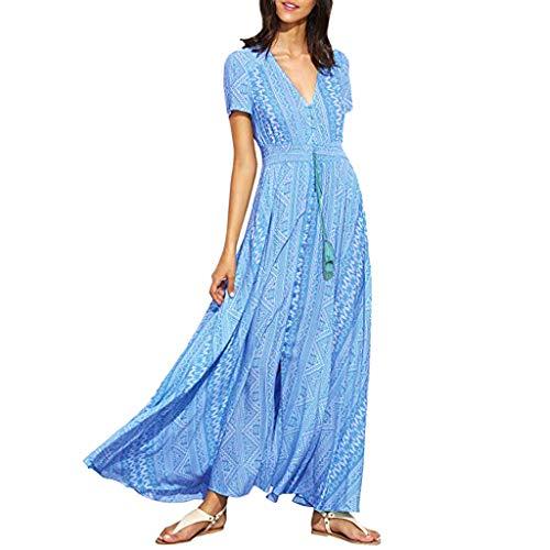 (Summer Plain Dress, Women's Casual Short Sleeves V Neck Side High Split Loose Long Maxi Dress Midi Printed Tunic Blouse Blue)
