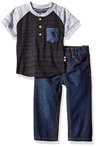 English Laundry Baby Boys Short Sleeve Raglan Henley with Sand Blasted Denim Jean, Charcoal, 12M
