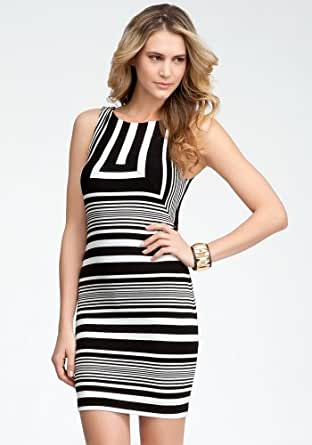 bebe Boatneck Striped Fitted Dress Day Dresses Black/white-xs