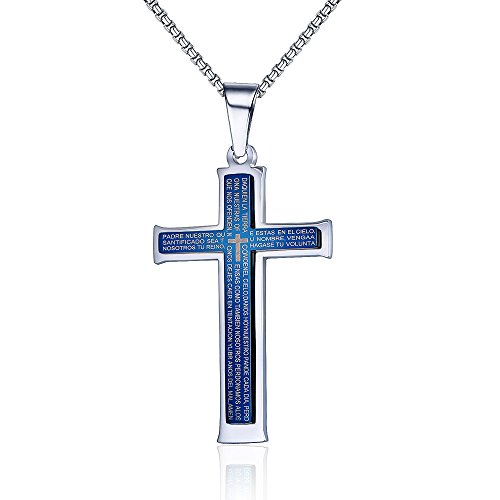 Mealguet Jewelry Stainless Steel Blue Lord's Prayer Spanish Bible Verse Cross Pendant Necklace with 19