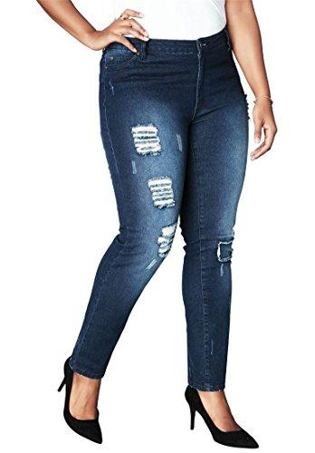 Women's Plus Size Distressed Jeans - Indigo Wash, 22 W ()