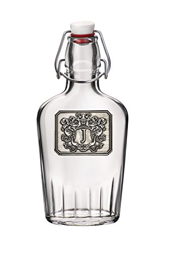 Personalized Glass Pocket Flask – Monogram Initial Pewter Engraved Crest – Novelty for Weddings, Birthdays or any Special Occasions – Pick Your Letter (J, 8.5OZ)