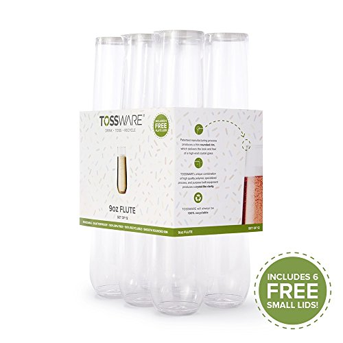 TOSSWARE 9oz Flute Summer Pack Recyclable Champagne Plastic Cup Stemless (Set Of 12), Clear