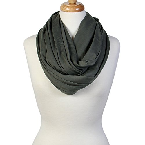 Scarfand's Super Soft Light Weight Solid Color Infinity Loop Scarf (Double Size - Gray)