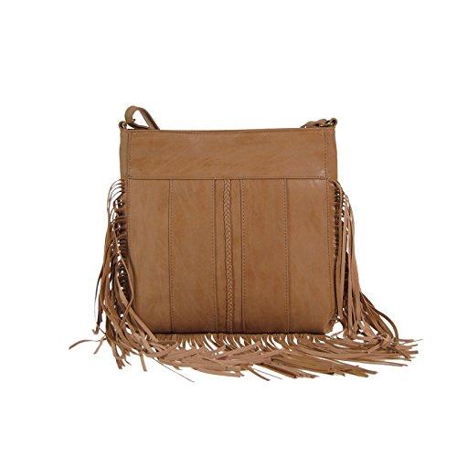 Glüxklee sacchetto marrone borsa con frange in pelle marrone gratis