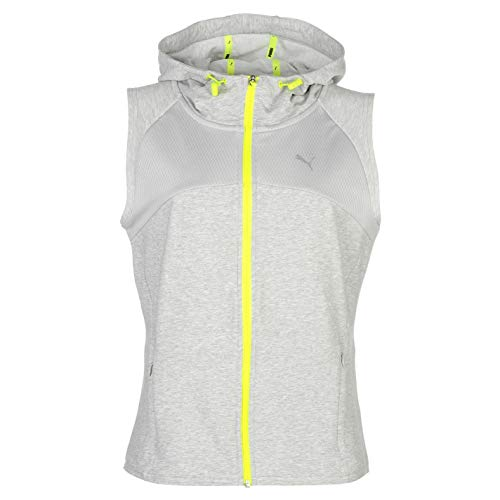 Puma Active Transition Sleeveless Training Hoody Womens Grey Fitness Hoodie Top UK 12 (Medium) -