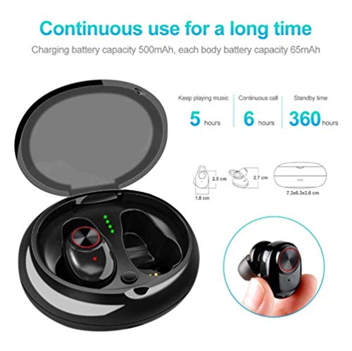 YOUXIA Bluetooth Wireless Headset Bluetooth V5.0 Micro Mini in-Ear Sports True Wireless Invisible Headset with Charging Cabin Microphone binaural Headset Meets The Ergonomics,Black ()