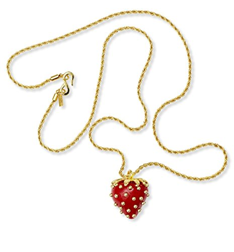 Kenneth Jay Lane Costume Jewelry Pendant Necklace Red Strawberry Necklace