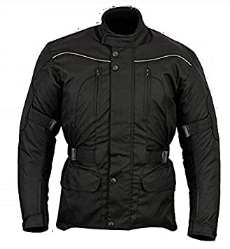 Chaqueta impermeable de motociclismo para hombre - Con protectores - Negro - EU 64 / contorno de pecho 137cm / 6XL: Amazon.es: Coche y moto