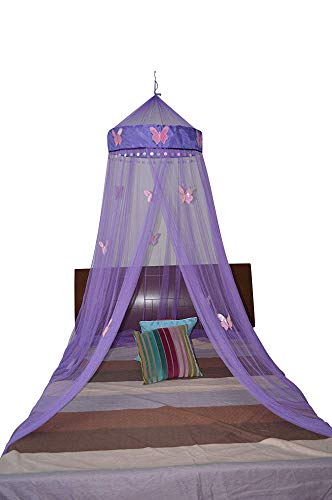 (Octorose Butterfly Bed Canopy Mosquito NET Crib Twin Full Queen King (purple))