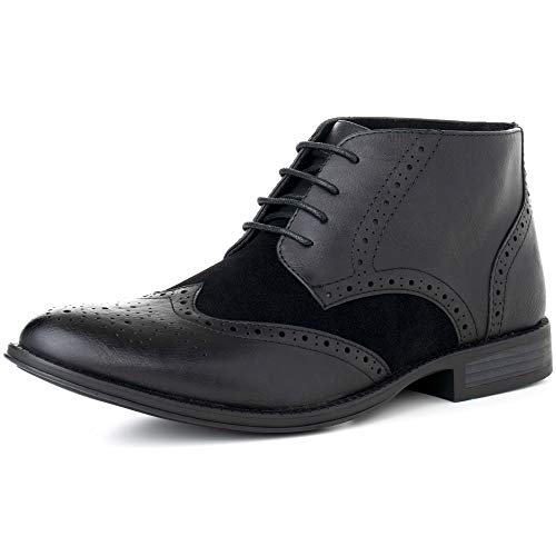 alpine swiss Geneva Mens Ankle Boots Brogue Wing Tip Dress Shoes Black 12 M US