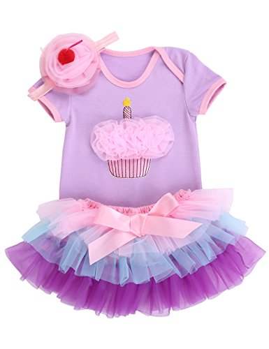 Smilsheep Halloween baby clothing photography Bodysuit Skirt Headband Set violet cake 10-18Months/31-35''/24.5-30 (29 Halloween Cakes)