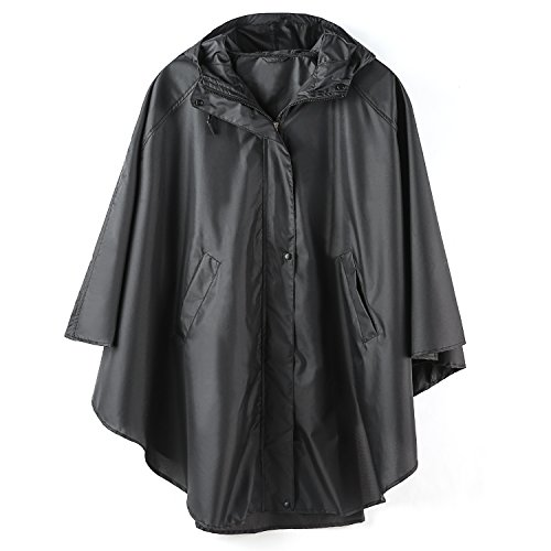 Sleeve Hooded Poncho - LINENLUX Rain Poncho Jacket Coat Hooded for Adults with Zipper (Black)