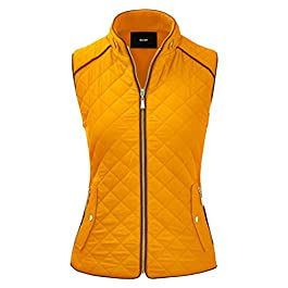 FASHION BOOMY Women's Quilted Padding Vest – Lightweight Zip Up Jacket – Regular and Plus Sizes