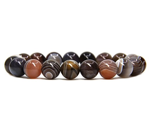 (Amandastone Natural A Grade Botswana Agate Genuine Semi-Precious Gemstones Healing 10mm Beaded Stretch Bracelet 7