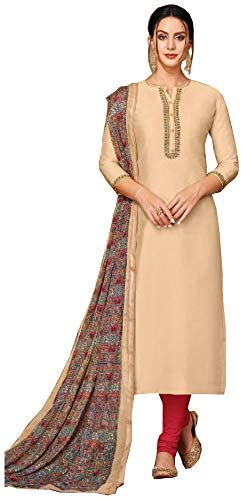 Atharv Collection Women's Chanderi Cotton Unstitched Salwar Suit Dress Material (SUT082_Beige_Free Size)