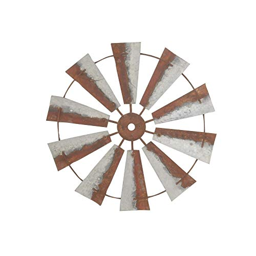 - Metal Windmill Wall Decor, Distressed Blades Grey Brown Tones Full Wind Mill Sculpture Antique Rust Finish, Rustic Farmhouse Chic Country Living Bedroom Pinwheel Yard Garden Art Decoration 30