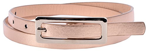 Sunny Belt Girl's Faux Leather Shiny & Skinny Peach Jean Belt Small