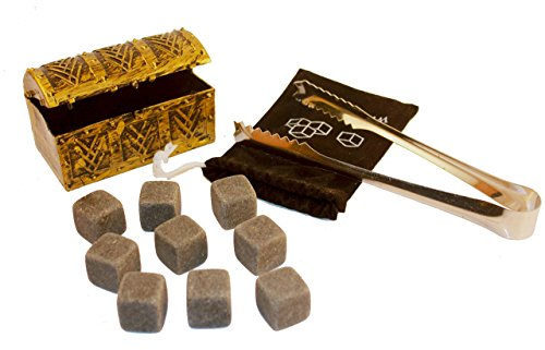 Whisky Stones: Ice cube replacement Chilling Rocks for Whiskey, Bourbon, Wine or Other Spirits. Gift Set of 9 with FREE Cocktail Pouch