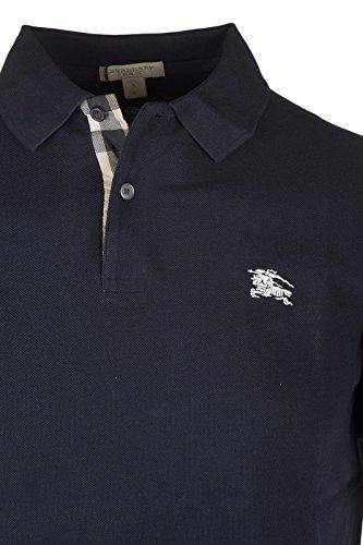 e07d838a3190 Burberry Brit Men's Check Placket Pique Dark Navy Polo Shirt Modern Fit  (Medium)