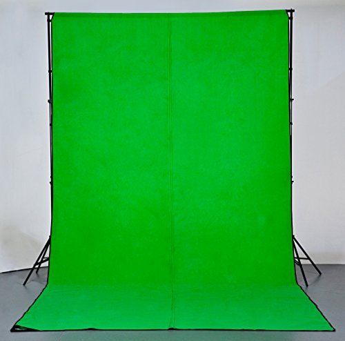 Digital Juice Chroma Pop Green Screen, 8 Foot x 18 Foot Portable Fabric Chromakey Backdrop Background Screen for Photo, Video Studio with Stand Kit, Carry Case and Sticky ()