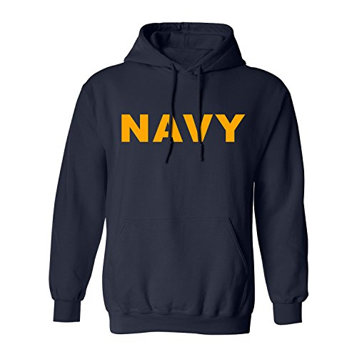 Navy NAVY Hooded Sweatshirt with gold print - X-Large