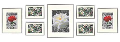 Golden State Art, Set of 7 Frames, Aluminum Metal Photo Frames with Ivory Color Mat & Real Glass, Color: Silver