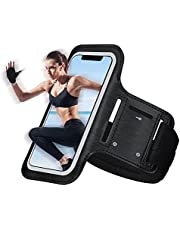 Cell Phone Armband Case, Running Armband with Detachable Extension Strap&Key Holder, Adjustable, Compatible with iPhone 12 Mini 11 Pro Max XR XS X 8 7, for Men&Women, Black
