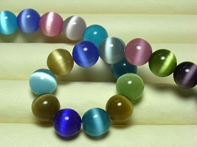 PEPPERLONELY Brand 15-1/2 Inch Strand (Apprx 49PC) 8mm Assorted Round (8mm Cats Eyes Glass Beads)