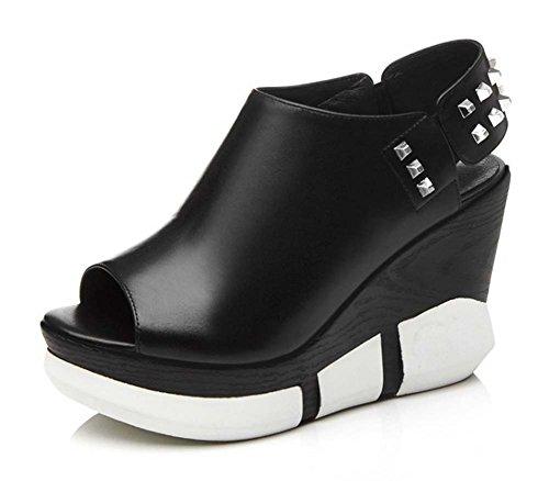 L&Y Mujeres Peep Toe Sandalias Plataforma Wedge Slingback Mujer Sandalias Tacones Altas Bombas Blanco Negro Negro