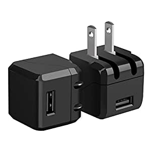 Wall Charger, Costyle 2-Pack 5V 1A USB Home Wall Travel Adapter Foldable Plug for iPhone 6S 6 5S iPad 4 Air Mini Samsung Galaxy S6 Edge Plus Note 5 4 HTC,Most Android Smartphone Devices(Black+Black)