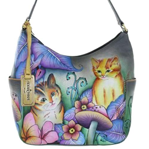 Anuschka Classic Genuine Leather Handpainted Hobo (Cats In Wonderland)