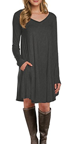 LILBETTER Women's Long Sleeve Pocket Casual Loose T-Shirt Dress (Grey XL)