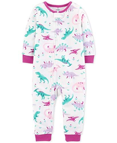 Carters Purple Fleece - Carter's Baby Girls' 1-Piece Dinosaur Fleece Footless PJs - Purple (12 Months)