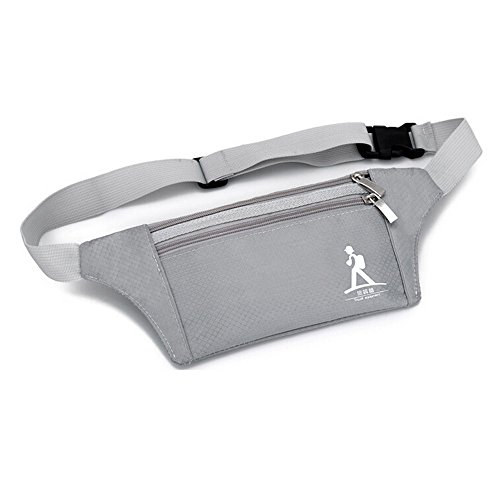 WOM-HOPE® Best Waterproof Ultra-light Running and Fitness Workout Waist Belt Bag Waist Pack For Sports And Travel - Running, Hiking, Biking, Walking Stealth Bag Modern Fanny Pack / Bum Bag / Waist Pack Pouch Carries Mobile Phone,Card,Key, Personal Items And Accessories - Adjustable Belt Fits Men and Women (Grey)