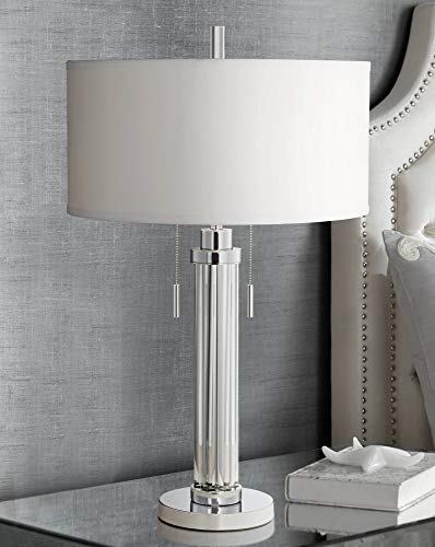 Cadence Modern Table Lamp Chrome Silver Glass Column White Drum Shade for Living Room Family Bedroom Bedside Office - Possini Euro Design