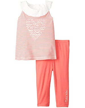 Baby Girls' Striped Tunic with Coral Legging