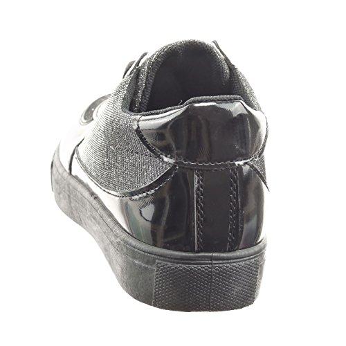 Sopily - damen Mode Schuhe Sneaker glitzer Patent glänzende - Schwarz