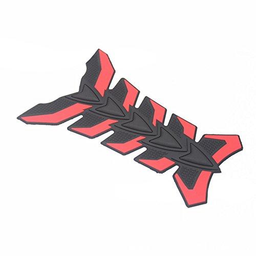 ocamo tanque de motocicleta Protector de Cubierta 3d Fishbone cuerpo de goma de adhesivos, Rojo