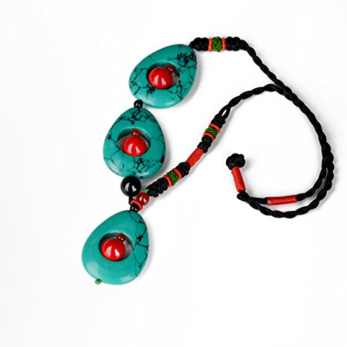 fyf-handmade-woman-ethnic-short-necklace-turquoise-agate-asymmertric-design-vintage-jewelry