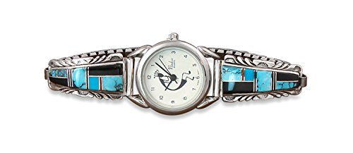 Navajo Women's Turquoise Coral Onyx Inlay Silver Watch Tips