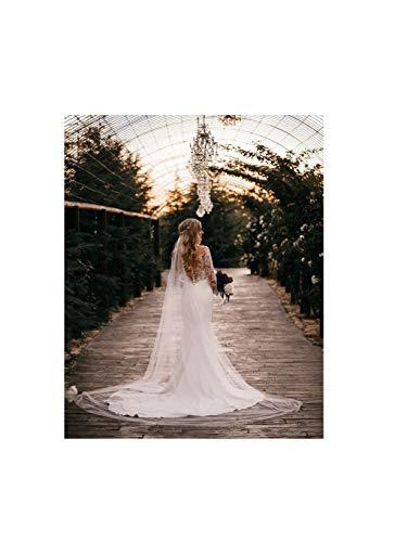 Olbye Women's Wedding Veil 108 Inch Cathedral Veil Single Tier 1T Long Veils For Brides Simple Sheer Veil (Light Ivory)