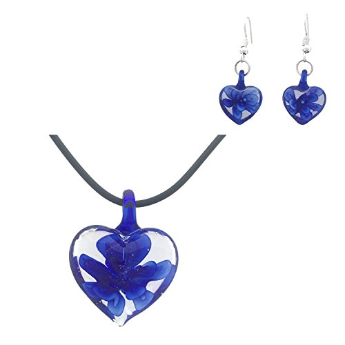 COS (TM) Handmade Glass Flower Heart Pendant Necklace and Earring Set (Blue) (Handmade Glass Flower)