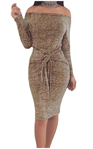 Shoulder With Belt Khaki Women's Autumn Comfy Off Solid Dress Bodycon Strapless qYA7x6wO