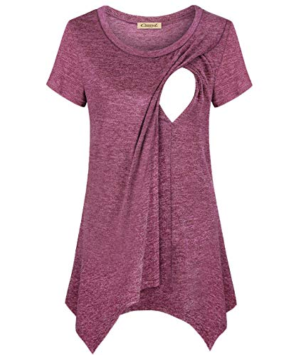 CzzzyL Latched Mama Nursing Tops,Women Scoop Neck Short Sleeve T-Shirts for Breastfeeding Lining High Low Hem Silky Soft Chic Durable Spring Lovely Tunic(Wine,Medium)
