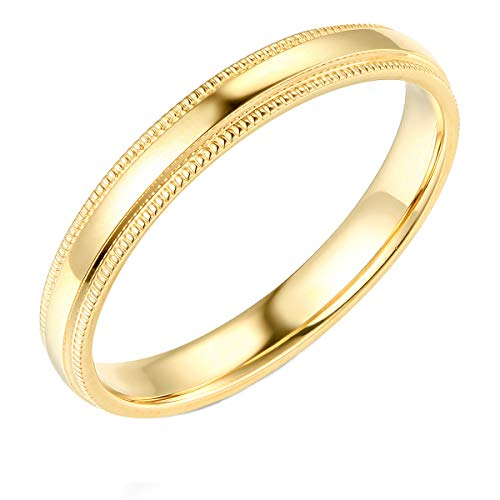 14k Yellow Gold 3mm Plain Milgrain Wedding Band - Size 7.5 ()