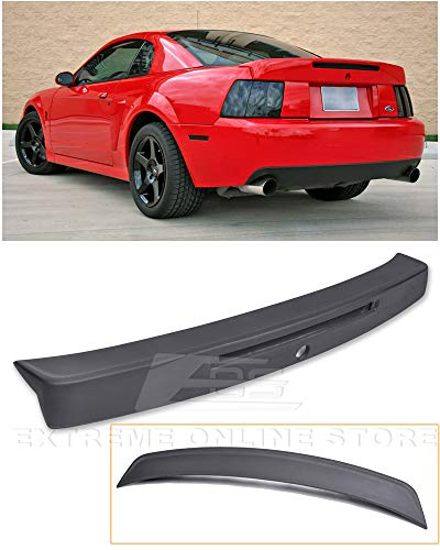 Extreme Online Store Replacement for 1999-2004 Ford Mustang | Cobra Style ABS Plastic Primer Black Rear Trunk Lid Spoiler Wing Lip Brake Light Insert