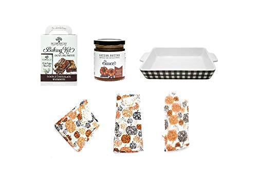 Olive Oil Chocolate Brownies & Caramel Sauce Bakers Gift Set with a Stoneware Baking Dish, Oven Mitt, Potholder & Kitchen Towel (Double Chocolate Brownie & Pumpkin Spice Caramal Sauce Set #1) -