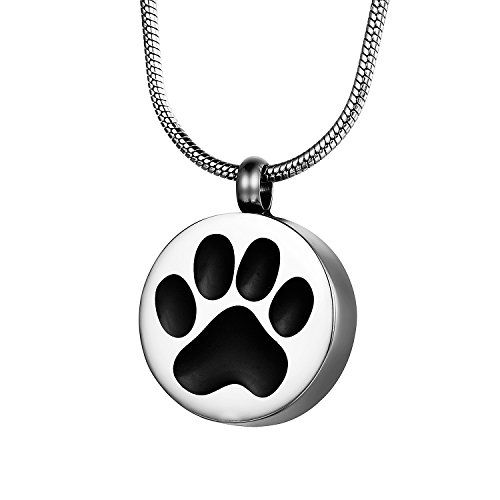 COCO Park Round Engraving Dog Cat Paw Pet Cremation Pendant Necklace Memorial Ashes Urn Jewelry Keepsake by COCO Park